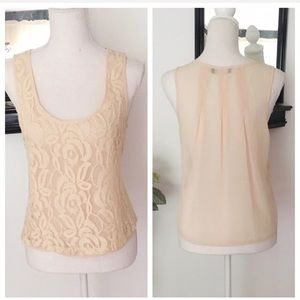 Love Culture Beige Lace Sleeveless Blouse Top